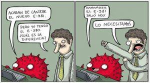 hombre habla con monstruo rojo