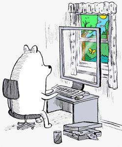 oso frente a ordenador