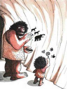 cavernícola y su hijo pintando en cueva