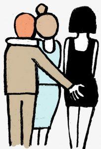 hombre agarra culo por detras a mujer