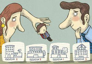 padre y madre con niño y escuelas