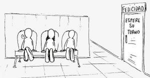 3 muñecos esperan sentados