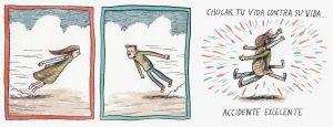 viñetas dibujos hombre y mujer chocan entre si